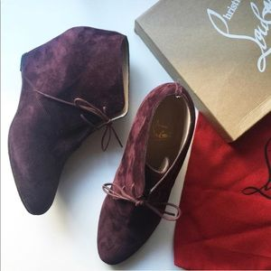 Louboutin Compacta Lace-Up Boots in Plum Suede